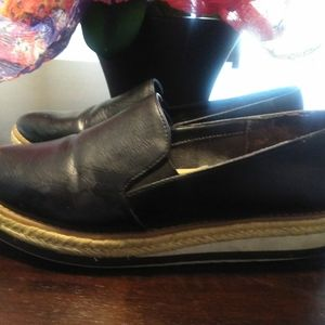 Black slip on loafers with pointy toes!
